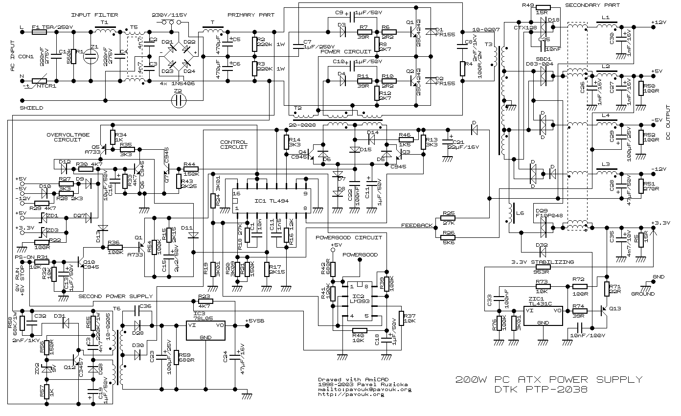w atx pc power supplyschematics diagram  atx schema