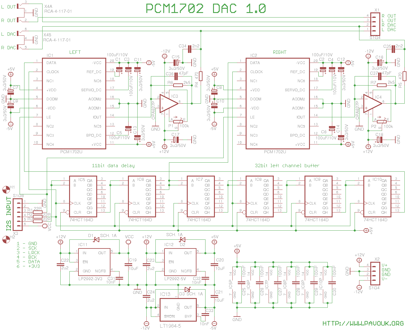 Dac With Pcm1702 Circuits Schematic Available In Pdf And Eagle Formats The Schematics Diagram 6 Format