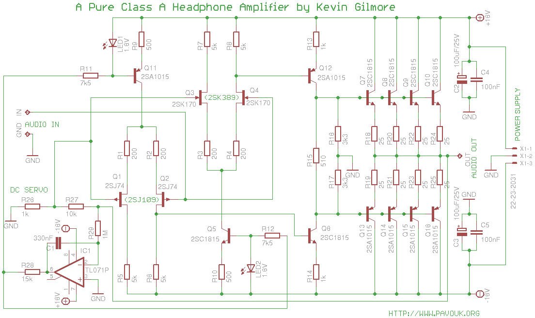 class a headphone amplifier by kevin gilmore rh pavouk org Guitar Wiring Schematics Air Conditioner Schematic Wiring Diagram