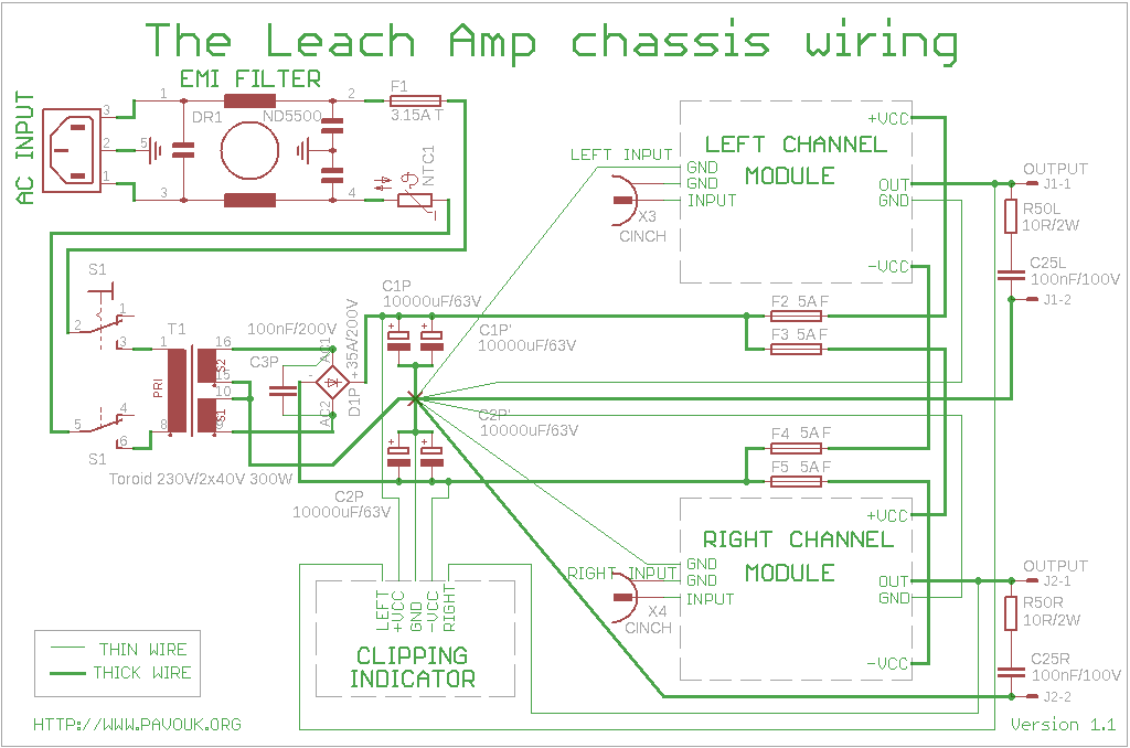 chassiswiring the leach amp 200w amplifier toroidal transformer wiring diagram at gsmx.co