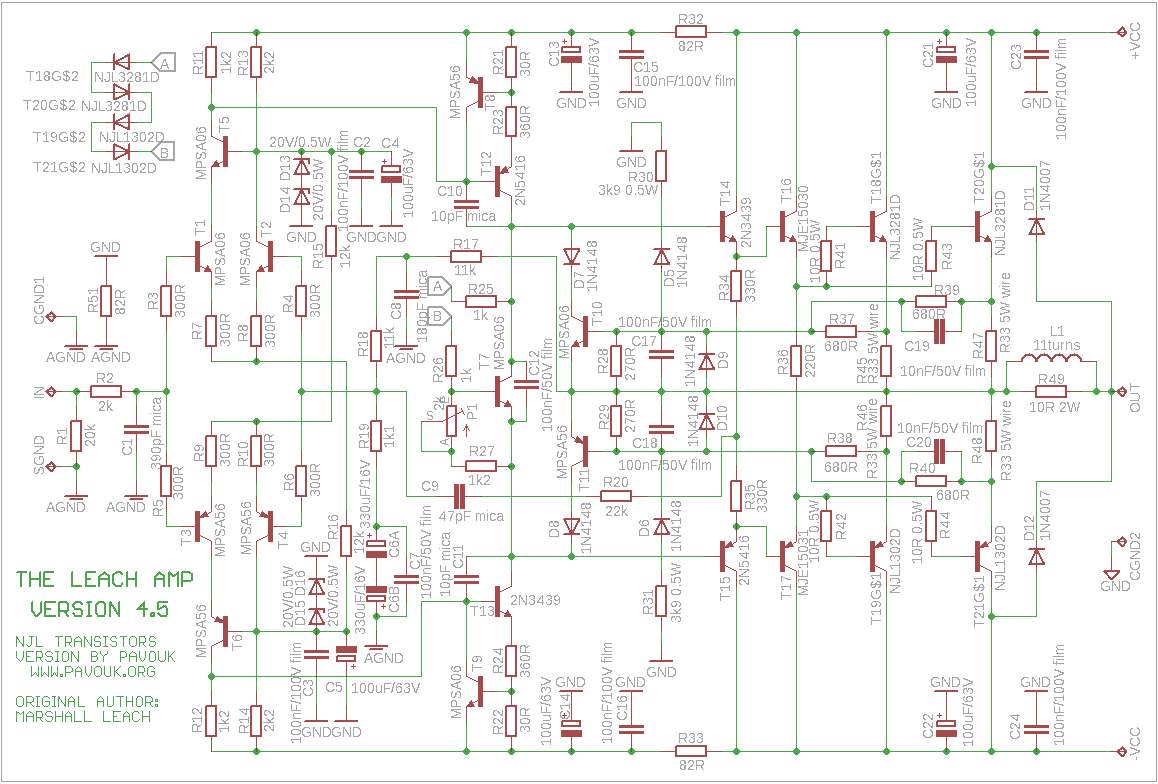Redrawed schematics diagram for use with NJL transistors with added