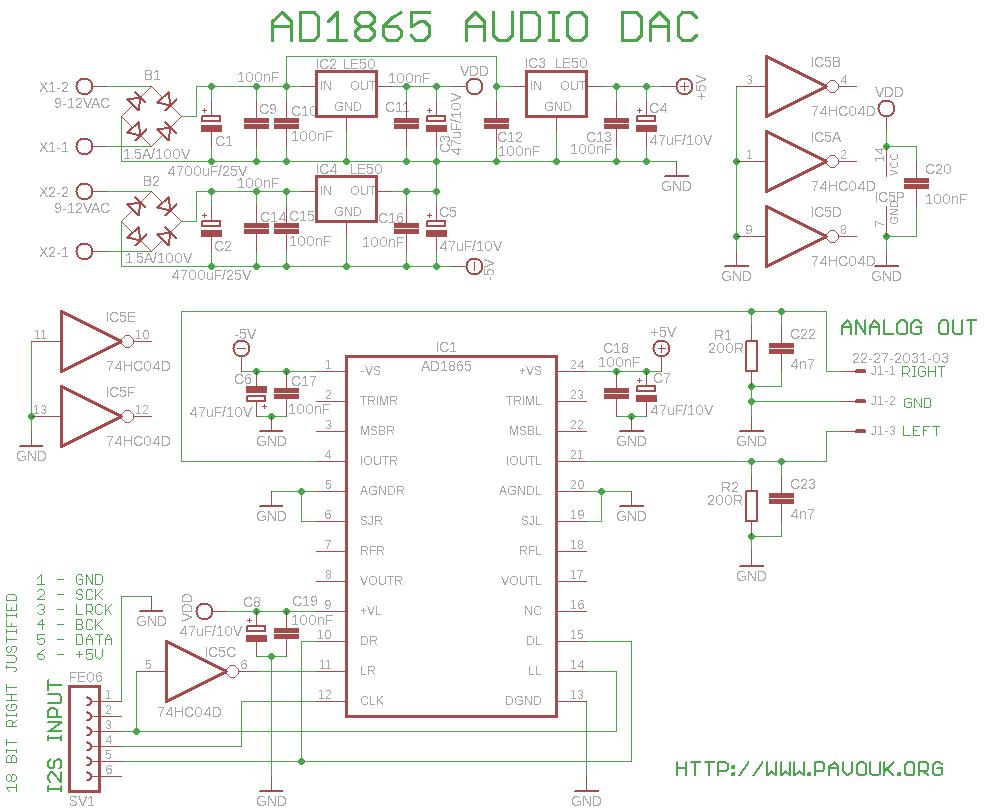 Audio Dac With Ad1865 Schematic In Addition Schematics Eagle Files On 18bit Version Diagram Of 18 Bit 5 Format