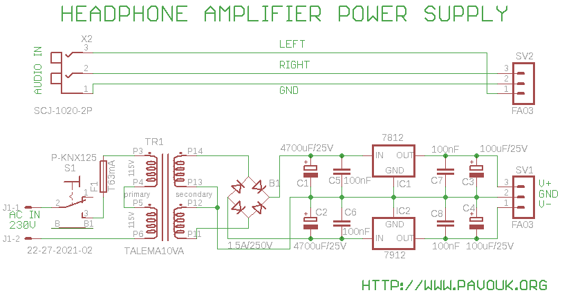 Schematics of power supply