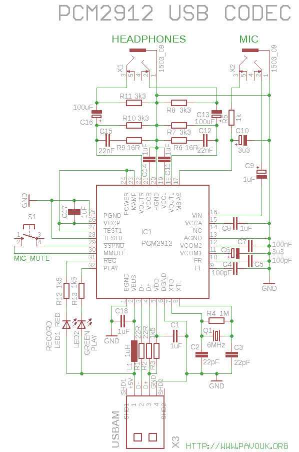 usb audio dongle pcm2912 schematics